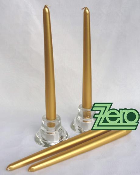 Svíčka dlouhá 24 cm - zlatá (kovová) - Obrázek č. 1