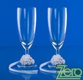 Skleničky pro novomanželé - bílé s ozdobou,
