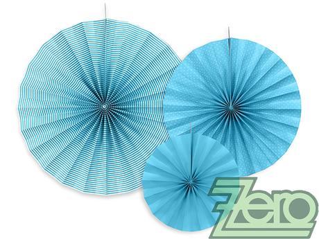 Rozety závěsné (3 velikostí) - modré - Obrázek č. 1