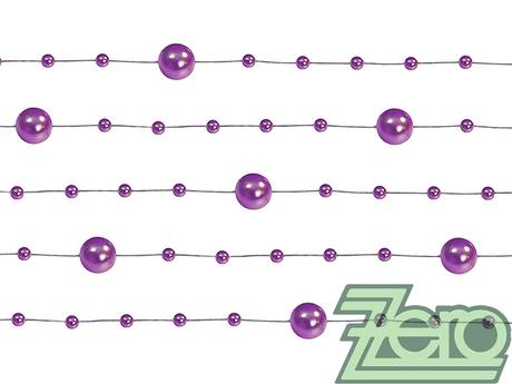 Girlanda z perel 5 ks x 130 cm - purpurová - Obrázek č. 1