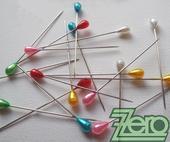 Špendlíky ozdobné s perlou (100 ks) - mix,