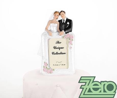 """Figurka na dort """"novomanželé"""" s rámečkem na fotku - Obrázek č. 1"""
