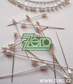 """Špendlíky ozdobné """"perla"""" 5cm (30 ks) - bílá metal,"""
