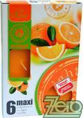 Svíčka čajová pr. 6 cm (6 ks) s vůní - oranžová,