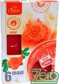 Svíčka čajová pr. 6 cm (6 ks) s vůní - růžová,