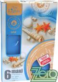 Svíčka čajová pr. 6 cm (6 ks) s vůní - modrá,