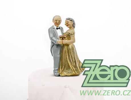 """Figurka na dort """"novomanželé"""" - zlatá svatba - Obrázek č. 1"""
