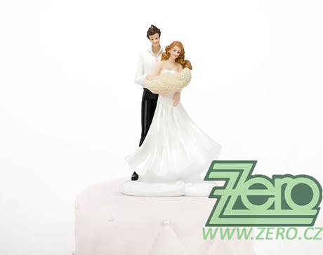 """Figurka na dort """"novomanželé"""" - s miminkem - Obrázek č. 1"""