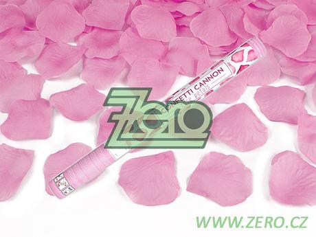 Konfety vystřelovací 60 cm - plátky růží růžové - Obrázek č. 1
