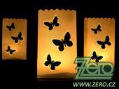 Lampión papírový na svíčku s motýlky - bílý,