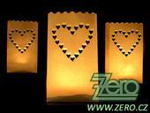 """Lampión papírový na svíčku se """"srdíčky"""" - bílý,"""