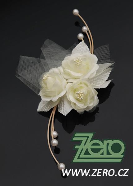 Svatební květ růží s ratanem na auto (4 ks) - krém - Obrázek č. 1