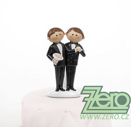 """Figurka na dort """"novomanželé"""" - gayové - Obrázek č. 1"""