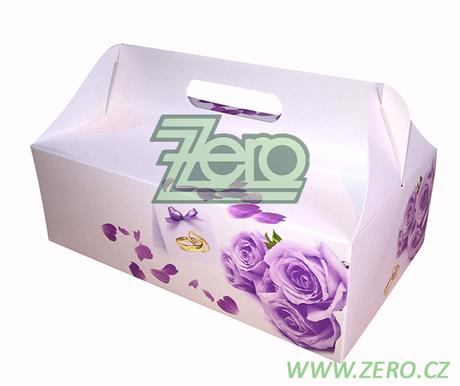 """Krabička papírová s uchem a potiskem """"růží"""" - Obrázek č. 1"""