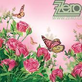 Ubrousky papírové s potiskem 20 ks - růže a motýl,