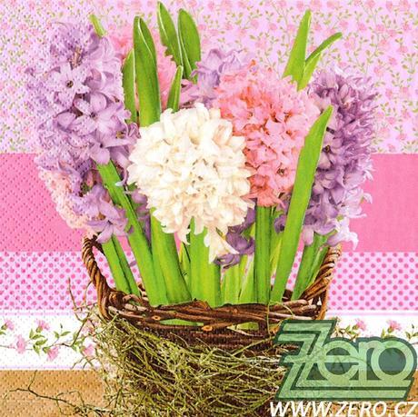 Ubrousky papírové s potiskem 20 ks - hyacinty - Obrázek č. 1