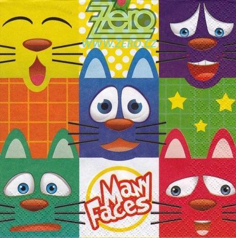 Ubrousky papírové s potiskem 20 ks - kočky - Obrázek č. 1