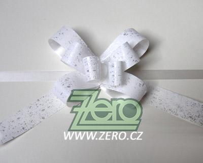 Mašle stahovací 2 cm (25 ks) - bílá se vzorem - Obrázek č. 1