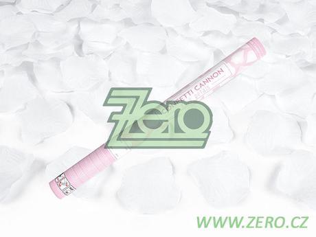 Konfety vystřelovací 60 cm - plátky růží bílé - Obrázek č. 1