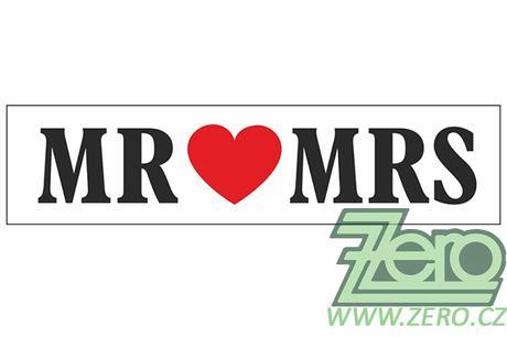 """SPZ svatební """"Mr. + Mrs."""" - bílá - Obrázek č. 1"""