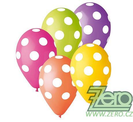 Balónky nafukovací Ø 30 cm (5 ks) - puntíky mix - Obrázek č. 1
