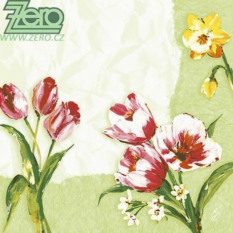 """Ubrousky 40x40 cm """"Duni"""" 50 ks - tulipány - Obrázek č. 1"""