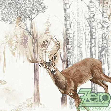 """Ubrousky 40x40 cm """"Duni"""" 50 ks - jelen v lese - Obrázek č. 1"""