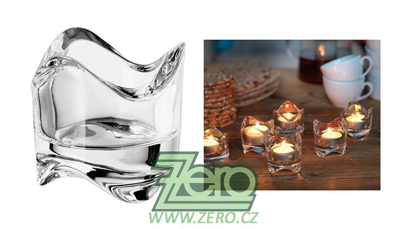 AKCE Svícen skleněný na čajovou svíčku tvarovaný - Obrázek č. 1