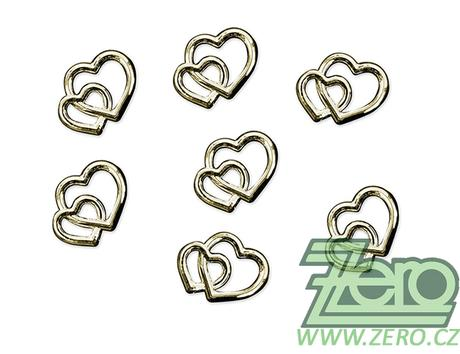 Ozdobné dekorativní dvojité srdce 25 ks - zlatá - Obrázek č. 1