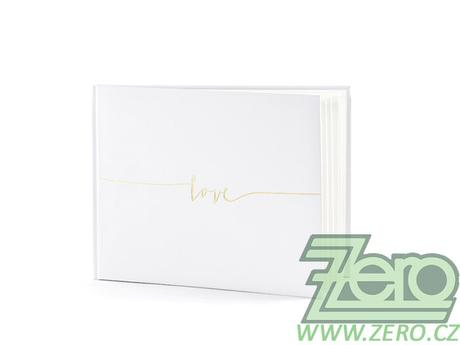Kniha hostů svatební - bílá s nápisem Love - Obrázek č. 1