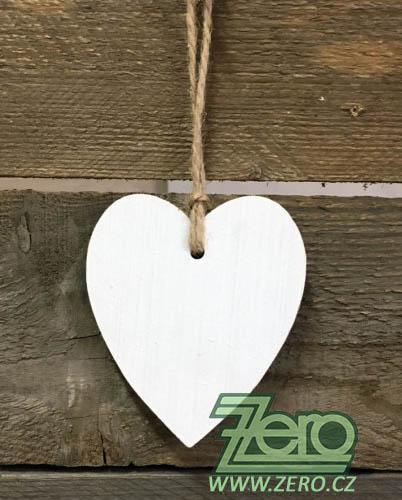 Dřevěné srdce k zavěšení 10 cm - bílé - Obrázek č. 1