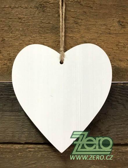 Dřevěné srdce k zavěšení 17 cm - bílé - Obrázek č. 1