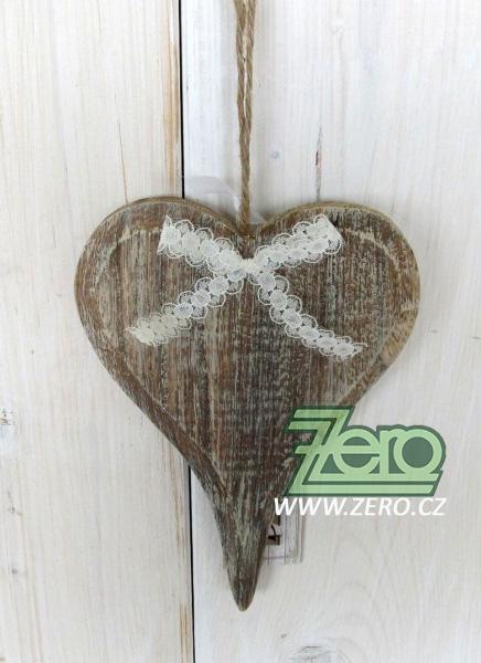 Dřevěné srdce k zavěšení 19 x 13 cm - přírodní - Obrázek č. 1