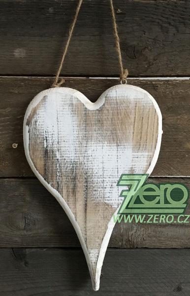 Dřevěné srdce k zavěšení 19 x 29 cm - přírodní - Obrázek č. 1