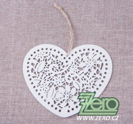 Srdce dřevěné vykrajované 15 cm - bílé - Obrázek č. 1