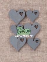 Srdce dřevěné samolepicí - grafitová - Obrázek č. 1