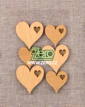 Srdce dřevěné samolepicí - zlatá - Obrázek č. 1