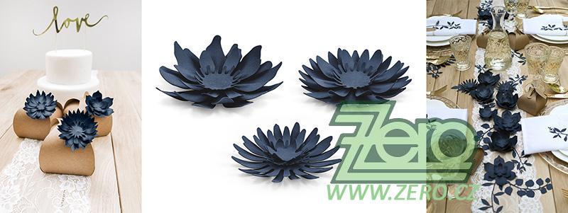 Květ papírový dekorační 3 ks - tmavě modrá - Obrázek č. 1