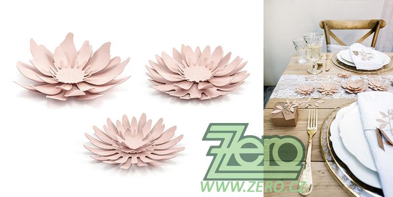 Květ papírový dekorační 3 ks - růžová pudrová - Obrázek č. 1