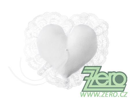 """Polštářek na prstýnky """"srdce"""" - bílý - Obrázek č. 1"""