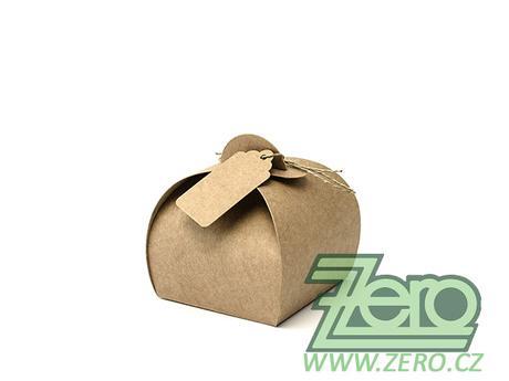 Krabička papírová s visačkou (10 ks) - přírodní - Obrázek č. 1