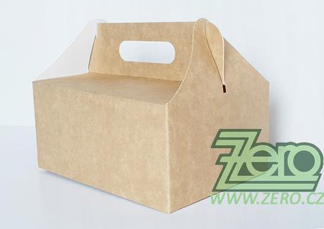 Krabička papírová s uchem 14x19x9 cm - přírodní - Obrázek č. 1