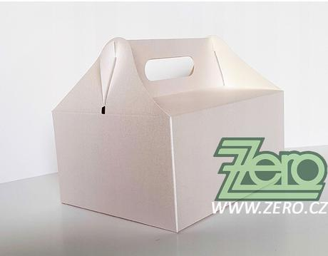 Krabička papírová s uchem 14x19x9 cm - perleťová - Obrázek č. 1