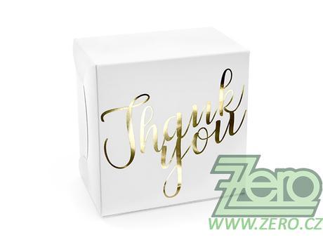 Krabička papírová s uchem Thank You - bílá - Obrázek č. 1