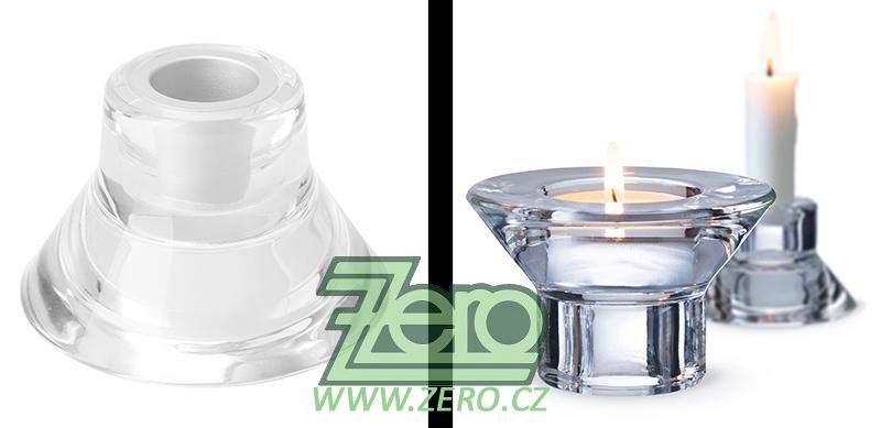 AKCE Svícen skleněný na svíčky obojetný - Obrázek č. 1