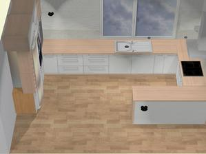 Návrh kuchynská linka, kombinácia biely lesk a imitacia masivu, vlavo je stena asi 1,5 m, takze za roh nebude vidiet :)