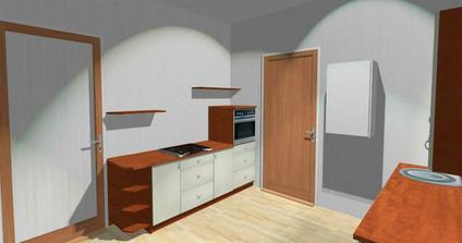 Pohled také od okna.Hnědé dveře jsou vstupní do kuchyně a ty bíle do špajzu.