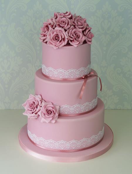 Свадебные торты розовые фото