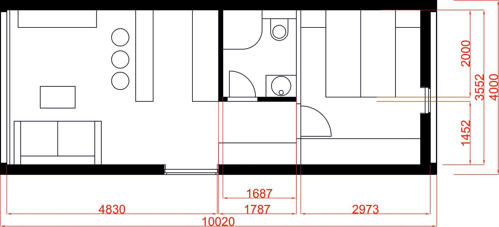 Mobilné domy - Veľkosť mobilného domu č.1