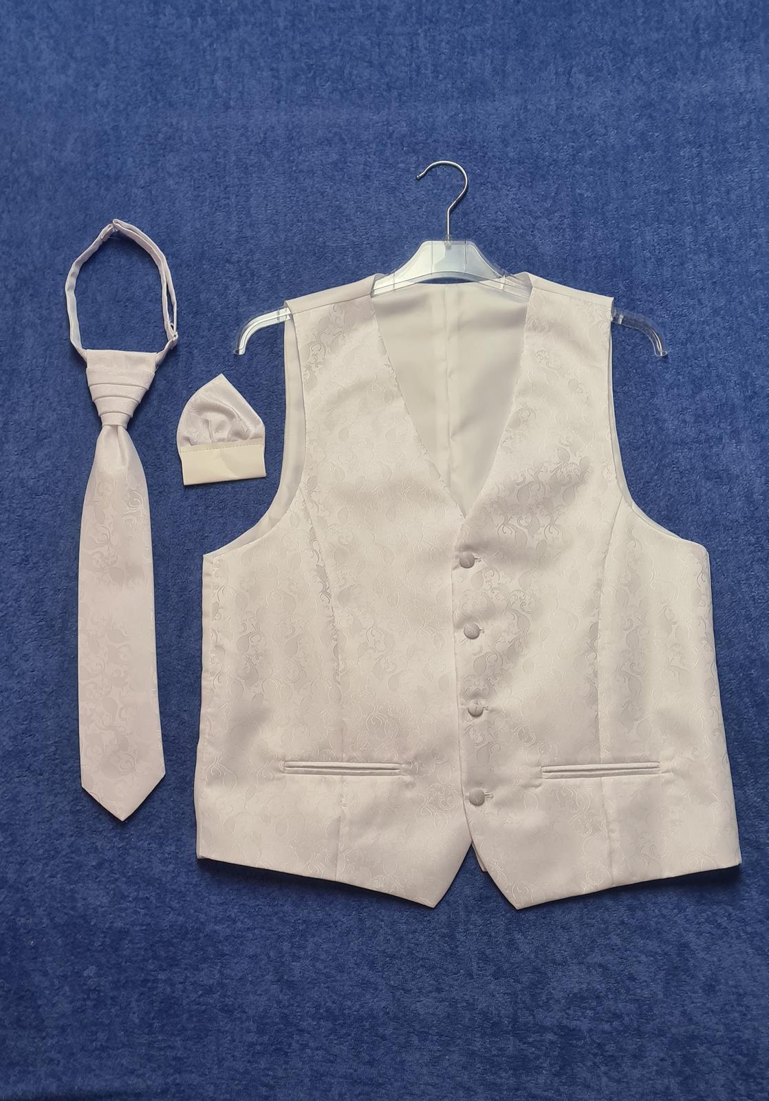 snehobiely set - vesta, kravata, vreckovka v.46 - Obrázok č. 1